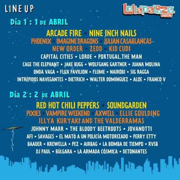 Lollapalooza Argentina Line Up